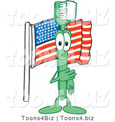 Vector Illustration of a Cartoon Toothbrush Mascot with an American Flag by Toons4Biz
