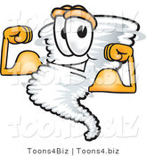 Vector Illustration of a Cartoon Tornado Mascot Flexing His Arm Muscles by Toons4Biz