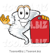 Vector Illustration of a Cartoon Tornado Mascot Holding a Blank Red Sales Price Tag by Toons4Biz