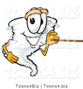 Vector Illustration of a Cartoon Tornado Mascot Holding a Pointer Stick by Toons4Biz