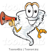 Vector Illustration of a Cartoon Tornado Mascot Holding a Red Bullhorn Megaphone by Toons4Biz