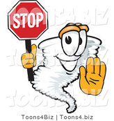 Vector Illustration of a Cartoon Tornado Mascot Holding a Stop Sign by Toons4Biz