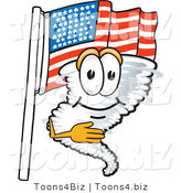 Vector Illustration of a Cartoon Tornado Mascot Pledging Allegiance to an American Flag by Toons4Biz