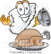 Vector Illustration of a Cartoon Tornado Mascot Serving a Thanksgiving Turkey on a Platter by Toons4Biz