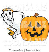 Vector Illustration of a Cartoon Tornado Mascot Standing by a Halloween Pumpkin by Toons4Biz