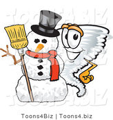 Vector Illustration of a Cartoon Tornado Mascot Standing by a Snowman by Toons4Biz