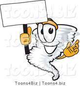 Vector Illustration of a Cartoon Tornado Mascot Waving a Blank White Sign by Toons4Biz