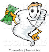Vector Illustration of a Cartoon Tornado Mascot Waving a Green Dollar Bill by Toons4Biz
