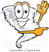 Vector Illustration of a Cartoon Tornado Mascot Waving and Pointing to the Right by Toons4Biz
