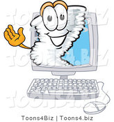 Vector Illustration of a Cartoon Tornado Mascot Waving from Inside a Computer Screen by Toons4Biz