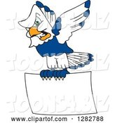 Vector Illustration of a Cartoon Tough Seahawk Mascot Flying with a Blank Sign by Toons4Biz