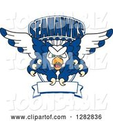 Vector Illustration of a Cartoon Tough Seahawk Mascot Flying with Claws Extended, out of a Shield with Text and a Blank Banner by Toons4Biz