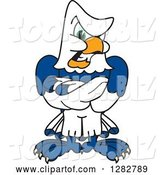 Vector Illustration of a Cartoon Tough Seahawk Mascot with Folded Arms by Toons4Biz