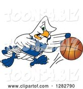Vector Illustration of a Cartoon Tough Seahawk Sports Mascot Dribbling a Basketball by Toons4Biz