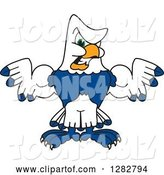 Vector Illustration of a Cartoon Tough Seahawk Sports Mascot Flexing His Muscles by Toons4Biz