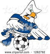 Vector Illustration of a Cartoon Tough Seahawk Sports Mascot Playing Soccer by Toons4Biz