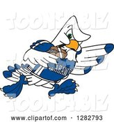 Vector Illustration of a Cartoon Tough Seahawk Sports Mascot Running with an American Football by Toons4Biz