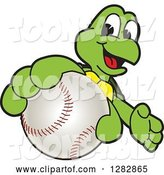 Vector Illustration of a Cartoon Turtle Mascot Catching or Holding out a Baseball by Toons4Biz