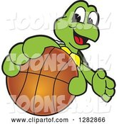 Vector Illustration of a Cartoon Turtle Mascot Catching or Holding out a Basketball by Toons4Biz