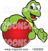 Vector Illustration of a Cartoon Turtle Mascot Catching or Holding out a Red Ball by Toons4Biz
