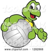 Vector Illustration of a Cartoon Turtle Mascot Catching or Holding out a Volleyball by Toons4Biz
