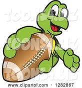 Vector Illustration of a Cartoon Turtle Mascot Catching or Holding out an American Football by Toons4Biz