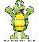 Vector Illustration of a Cartoon Turtle Mascot Cheering by Toons4Biz