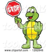Vector Illustration of a Cartoon Turtle Mascot Gesturing and Holding a Stop Sign by Toons4Biz