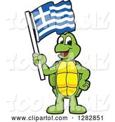 Vector Illustration of a Cartoon Turtle Mascot Holding a Greek Flag by Toons4Biz