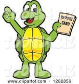 Vector Illustration of a Cartoon Turtle Mascot Holding a Report Card by Toons4Biz
