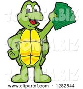 Vector Illustration of a Cartoon Turtle Mascot Holding Cash Money by Toons4Biz