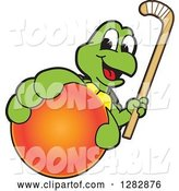 Vector Illustration of a Cartoon Turtle Mascot Holding out a Field Hockey Ball and Stick by Toons4Biz