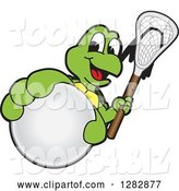 Vector Illustration of a Cartoon Turtle Mascot Holding out a Lacrosse Ball and Stick by Toons4Biz