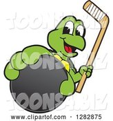 Vector Illustration of a Cartoon Turtle Mascot Holding out an Ice Hockey Puck and Stick by Toons4Biz