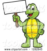 Vector Illustration of a Cartoon Turtle Mascot Holding up a Blank Sign by Toons4Biz