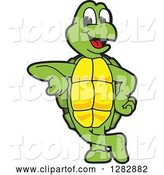 Vector Illustration of a Cartoon Turtle Mascot Leaning by Toons4Biz