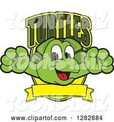 Vector Illustration of a Cartoon Turtle Mascot Leaping out from a Shield with Text and a Blank Banner by Toons4Biz