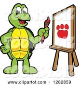 Vector Illustration of a Cartoon Turtle Mascot Painting a Paw Print on an Art Canvas by Toons4Biz