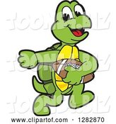 Vector Illustration of a Cartoon Turtle Mascot Playing Football by Toons4Biz
