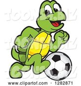 Vector Illustration of a Cartoon Turtle Mascot Playing Soccer by Toons4Biz