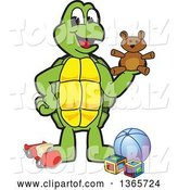 Vector Illustration of a Cartoon Turtle Mascot Playing with Toys by Toons4Biz