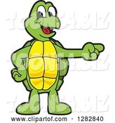 Vector Illustration of a Cartoon Turtle Mascot Pointing to the Right by Toons4Biz