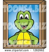 Vector Illustration of a Cartoon Turtle Mascot Portrait by Toons4Biz