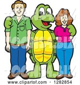Vector Illustration of a Cartoon Turtle Mascot Posing with Parents by Toons4Biz