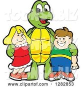 Vector Illustration of a Cartoon Turtle Mascot Posing with Students by Toons4Biz