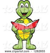 Vector Illustration of a Cartoon Turtle Mascot Reading a Book by Toons4Biz