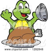 Vector Illustration of a Cartoon Turtle Mascot Serving a Roasted Thanksgiving Turkey by Toons4Biz