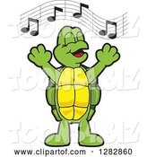 Vector Illustration of a Cartoon Turtle Mascot Singing in Chorus by Toons4Biz