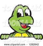 Vector Illustration of a Cartoon Turtle Mascot Smiling over a Sign by Toons4Biz