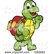 Vector Illustration of a Cartoon Turtle Mascot Walking to School by Toons4Biz